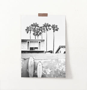 Beach House with Surfboards Wall Art