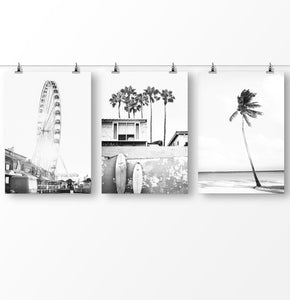 Black and White surfboard, palm trees, black and white coastal wall art