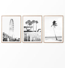 Load image into Gallery viewer, Ferris wheel and Beach Landscape with Surf Boards Set of 3 Prints