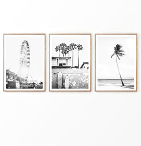 Ferris wheel and Beach Landscape with Surf Boards Set of 3 Prints