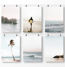Load image into Gallery viewer, Surfing poster, ocean waves, ocean rocks, palm tree leaves, beach photography
