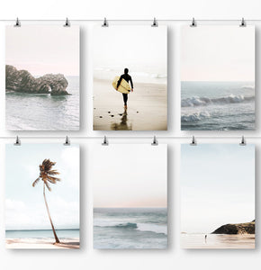 Surfing poster, ocean waves, ocean rocks, palm tree leaves, beach photography