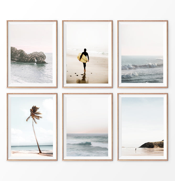 Coastal Wall Art Prints. Beach with palm trees and surfer. Ocean rock