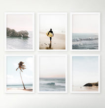 Load image into Gallery viewer, Coastal Surfung Theme Ocean Set Of 6 Framed Photo Prints