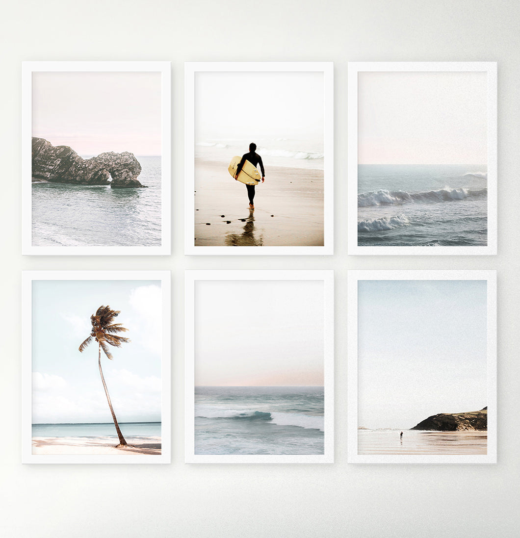 Coastal Surfung Theme Ocean Set Of 6 Framed Photo Prints