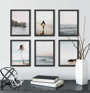 Black-framed Set Of 6 Above a Black Shelf