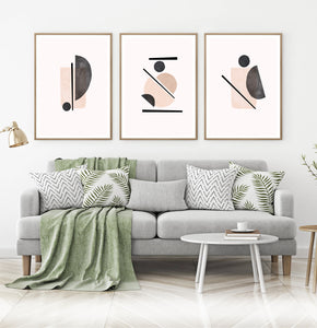 Beige Wall Set of Scandinavian Prints, Powder Color Abstract