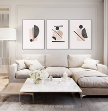 Load image into Gallery viewer, Neutral Color Abstract art in set of 3 for large sofa