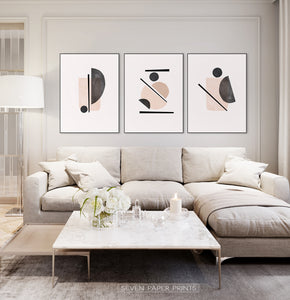 Neutral Color Abstract art in set of 3 for large sofa