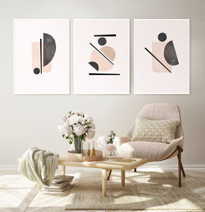 Powder Color Set of 3 Abstract Prints