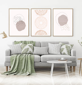 Mid Century Line Art Set of 3, Brown Pink Abstract Wall Art Set