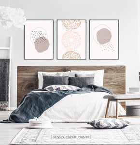Boho Wall Art Set in Neutral Color for Bedroom