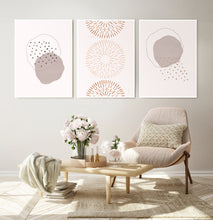 Load image into Gallery viewer, Neutral Color Abstract Art Set of 3 Prints in White frames