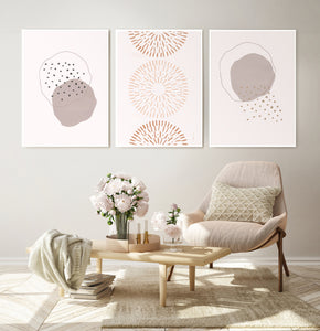 Neutral Color Abstract Art Set of 3 Prints in White frames