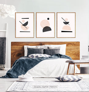 Abstract Neutral tones print set for bedroom