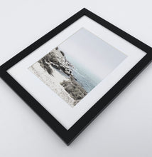 Load image into Gallery viewer, A white shore of the ocean photo in a black frame