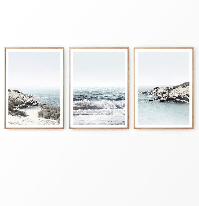 Beach coastal 3 piece wall art