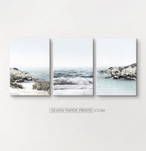 Load image into Gallery viewer, Blue ocean coastal set of 3 canvas prints #269