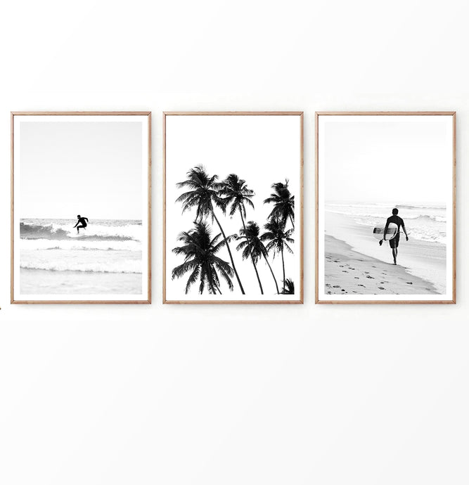 Black and white beach photography triptych