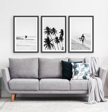 Load image into Gallery viewer, 3 Piece Black and White Framed Surfing Posters with Palms