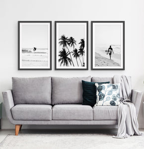 3 Piece Black and White Framed Surfing Posters with Palms