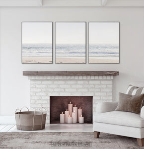 Coastal Triptych Above the Fireplace