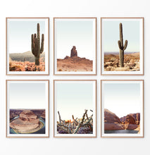 Load image into Gallery viewer, Desert wall art set of 6 prints, cactus plants wall art