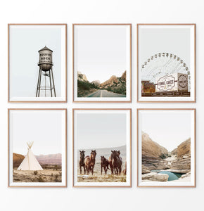 Nature beauty set of 6 prints, horses, Mountain Lake, camp, road
