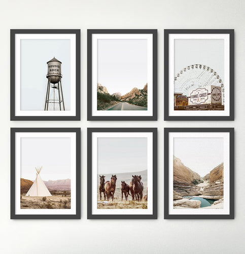 Water Tower, Highway, Ferris Wheel, Tipi, Horses, Canyon 6 Piece Framed Prints