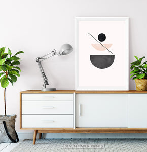Geometric Neutral Art Print for living room
