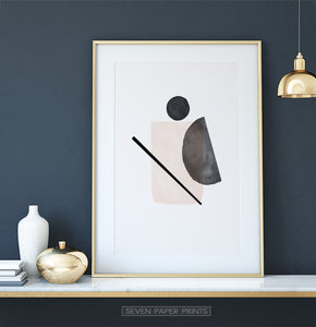 Abstract Shapes, Beige Boho Decor