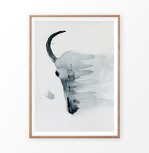 Load image into Gallery viewer, A smudged bull skull watercolor painting print in a frame