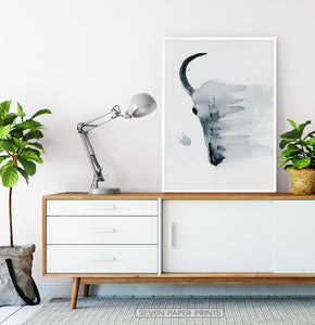 Smudged Bull Skull Watercolor Print in Black and White