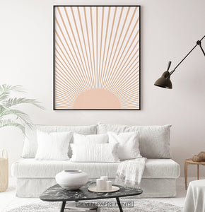 Boho Decor Abstract Sun Art Print, Neutral Color Art Print