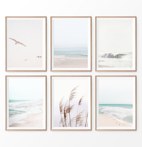 6 pastel beach prints, coastal wall art set of 6