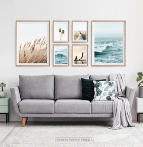 Coastal Gallery Wall for Minimalist Living Room Space