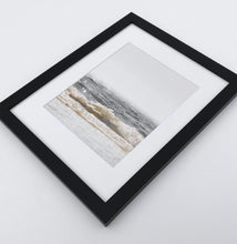 Load image into Gallery viewer, A photo print of sandy ocean shore in natural colors in a black frame