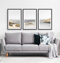 Load image into Gallery viewer, Three photo prints of sandy ocean shore in natural colors in black frames