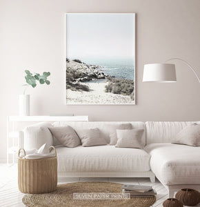 Beautiful Seascape With Greenery Wall Art for Living Room