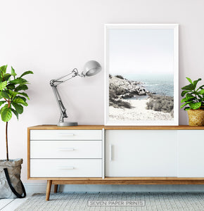 Aqua Beach Print with Shoreline View