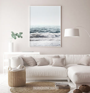 Blue Ocean Wave Print for Beige Living Room