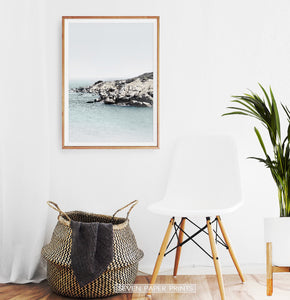 Ocean print for empty wall near the chair