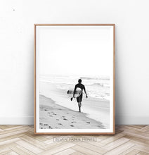 Load image into Gallery viewer, Surfer Walking on Beach Black and White Print