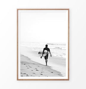 Black and surfer print, surfer walking alone on the beach