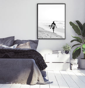 Surfer Walking on Beach Black and White Print