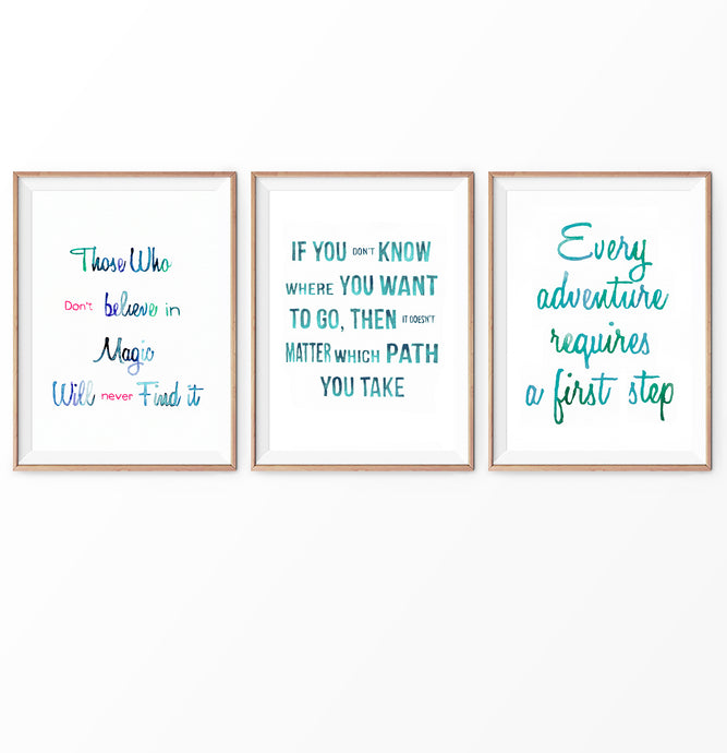 Alice in Wonderland Quotes in Turquoise Watercolor Set of 3