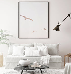 Seagulls on Sunset Living Room Poster