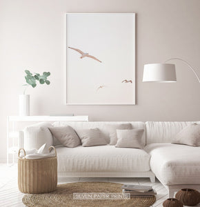 Pink Seagulls Minimalist Print for Living Room
