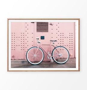 Pink bicycle print, San Francisco bicycle art
