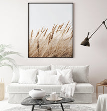Load image into Gallery viewer, Brown reed field large wall art above white sofa